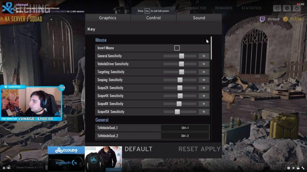 Shroud PUBG Settings