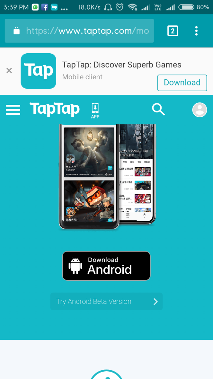 : Go to the https://www.taptap.com/mobile