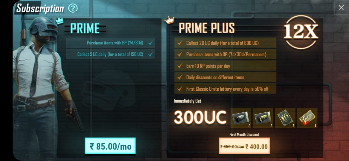 PUBG Mobile Prime & Prime Plus Subscription Price