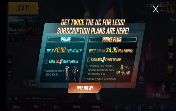 PUBG Mobile Prime & Prime Plus Subscription