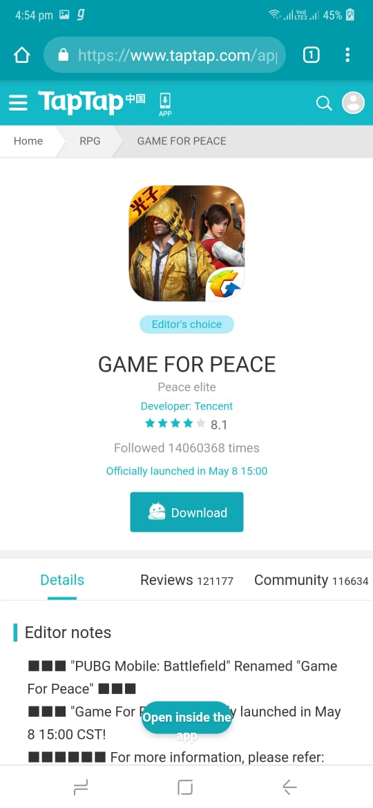 ize of Game For Peace is 1.89GB